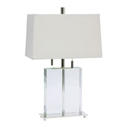 House of Troy - House of Troy M553-PS Marquis 2 Light Table Lamps in Polished Silver - Polished Silver and Rectangular Crystal Table Lamp