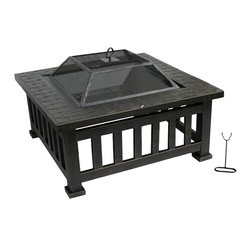 Kay Home Products - Lakeside Outdoor Fire Bowl - Lakeside Outdoor Fire Bowl: The Kay Home Lakeside Wood Burning Outdoor Firebowl. Burn wood, charcoal and artificial logs. This fire pit coffee table has steel construction with powder coated finish and 360-degree view of the fire. The fine wire mesh of the lift off spark screen protects from sparks and yet still allows view of fire. The table surrounding the fire pit is steel embossed with a basket weave. Log grate and fire tool included. This inviting fire pit will keep you and your guests warm with charming ambiance while entertaining outdoors.Features: