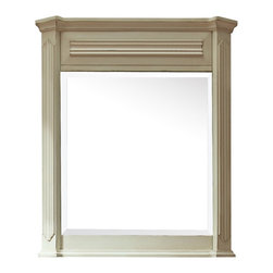"""Lamps Plus - Country - Cottage Avanity Kingswood White 30"""" x 35"""" Wall Mirror - Full of charm and country character this rectangular wall mirror from Avanity is sure to complement any traditional or transitional living space. A beautiful beveled mirror sits within a distressed white finish frame made from solid wood and MDF that has a crown moulding accent at the top and ridged side panels. Ready to hang this mirror comes with a wood cleat at the back and stands at 35"""" high. Decorative wall mirror. Solid wood and MDF frame. Distressed white finish. Beveled mirror glass. Wood cleat for hanging. 35"""" high. 30"""" wide.  Decorative wall mirror.   Solid wood and MDF frame.   Distressed white finish.   Beveled mirror glass.   Wood cleat for hanging.   35"""" high.   30"""" wide."""