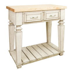 """French White Island with Two Drawers/Shelf - This island features two drawers on one side and a bottom shelf for additional storage. Drawers feature full extension soft-close slides.  Coordinating decorative hardware is included.  Maple grain butcher block top is 1 3/4"""" thick."""