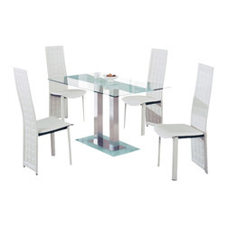 Global Furniture USA - D2108DT-FR + D027DC-WH Clear Glass & White Leatherette Five Piece Dining Set - This contemporary dining room set is a great addition to any modern home decor. A set by Global furniture that is sure to catch your eye. This set features an interesting charm with unique styled chairs and a contrasting glass table. The elegant look of this set can go with just about any decor or setting. The table in this set features a center strip of frosted glass that makes it different from most glass tables. A matching frosted glass base sits at the bottom of this piece. The chairs feature a grid pattern on the back. The dining set includes the dining table and four chairs only.