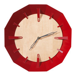 Schmitt Design - Caldera Wall Clock, Dark Red - Powder-coated steel provides the perfect balance to the warm maple front of this sculptural clock. And wouldn't the frame of color look just right in a kids' room or contemporary kitchen?