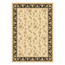 """Dynamic Rugs - Dynamic Rugs Legacy 58017-190 (Ivory Black) 6'7"""" x 9'6"""" Rug - Legacy is yet another superb collection with magnificent styling and priced to fit any budget. Legacy is densely Woven on wilton loom with high quality heat-set polypropylene that is anti-static with highest color fastness."""