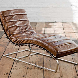 "Regina Andrew - Regina Andrew Vintage Brown Leather Lounge Chaise - A retro approach to relaxation, this chaise lounge by Regina Andrew strikes the perfect balance between modern and vintage. Its brown leather cushion offers luxurious comfort, curving to the ergonomic shape of the chaise's cantilevered design. 24.5""W x 58.5""D x 34.5""H. Metal frame. Distressed vintage brown cushion held on with straps."