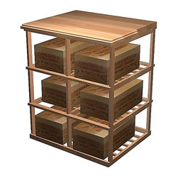 Wine Cellar Innovations - Double Deep Case w Table Top (All-Heart Redwood - Unstained) - Choose Wood Type and Stain: All-Heart Redwood - Unstained. Bottle capacity: 60. Beveled ends and rounded edges. 30.69 in. W x 27.19 in. D x 36.06 in. H (32 lbs.). Designer collection. Made in USA. Warranty. Assembly InstructionsAdd a functional working space and extra wine case storage to your wine cellar with a Designer Series Wood Case Storage Tasting Table. This unit was designed to allow for integration of single deep wine racking on either side of it, so it could be designed into a wall layout.