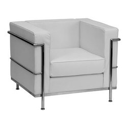 Flash Furniture - Flash Furniture Regal White Club Chair - This attractive white leather reception chair will complete your upscale reception area. The design of this chair allows it to adapt in a multitude of environments with its smooth upholstered cushions and visible accent stainless steel frame. [ZB-REGAL-810-1-CHAIR-WH-GG] Operating out of Etowah GA (with a warehouse in Reno NV) Flash Furniture specializes in bold upbeat décor for home office or commercial spaces. With a wide array of colors and fashions to fit your budget Flash Furniture accommodates your every need. Features include Regal Series Chair Office or Home Office Seating Made of Eco-Friendly Materials Taut Seat and Back Removable Seat and Back Cushion Foam Filled Cushions Straight Arm Design Accent Bar Frames Chair Integrated Stainless Steel Legs White LeatherSoft Upholstery LeatherSoft is leather and polyurethane for added Softness and Durability CA117 Fire Retardant Foam. Specifications Seat Size: 22W x 21.25D Back Size: 22W x 11.5H Arm Height From Floor: 27.5H Arm Height From Seat: 11.5H Seat Height: 17H Finish: Stainless Steel Color: White Upholstery: White Bonded Leather.