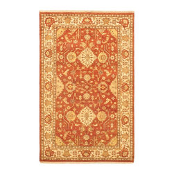 """Torabi Rugs - Hand-knotted Royal Ushak Dark Copper Wool Rug 5'9"""" x 9'1"""" - An inspiring blend of classical Turkish Ushak motifs and contemporary styles. Prized for its pastel colors, artistic designs and superior craftsmanship, this rug will work well with both traditional and transitional home decors."""