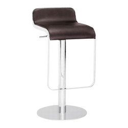 ZUO - Zuo Equino Bar Stool in Espresso - New York, London, Paris, Munich, Tokyo, Rio ... you name the city, this bar stool would rock at any high brow bar or café. You can bring that slick elegance of a brand spankin' new 'it' spot to your kitchen or dining area. With it's slight lip back and washable leatherette seat, it's ok if the kids spill!