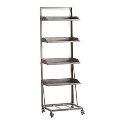 ROLLING SHELF - Sometimes, you just need a little utilitarian open shelving in your life. Intended for use with our Cuffed Seagrass Baskets, this four-shelf unit is reminiscent of a baking rack. Use it to store tools in the garage, or make a bold decorative choice and adorn it with colorful accessories in a living or family room.