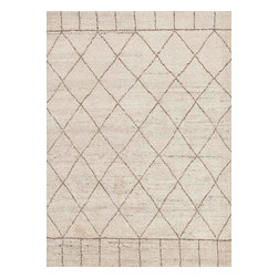 Jaipur Rugs - Hand-Knotted Moroccan Pattern Wool Ivory/Taupe Area Rug - Inspired by simple nomadic designs the Nostalgia collection is hand knotted in soft hand spun wool with a shaggy pile. It reflects the current trend for all things Moroccan . It is casual, with a super soft hand feel.