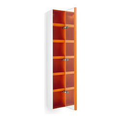 WS Bath Collections - 62.6 in. Bathroom Cabinet in White and Orange - Contemporary design. Five shelves. Mirrored door. Designer high end quality. Warranty: One year. Made from powder coated painted aluminum - matt stone sides. Made in Italy. 10.4 in. W x 6.5 in. D x 62.6 in. H (50 lbs.). Spec Sheet