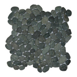 CNK Tile - Charcoal Black Pebble Tile - You couldn't find more exquisite stones if you beachcombed them yourself! These charming charcoal pebbles are hand sorted for color, size and shape to make a striking statement on any tiled surface in your home.