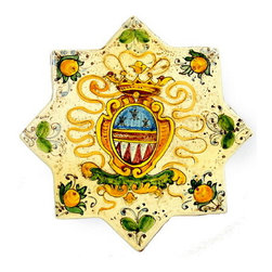 Artistica - Hand Made in Italy - MAJOLICA: Eight Point Star with medieval crest. - MAJOLICA Collection: Some of the most popular renaissance era families and dynasties crests are masterfully hand painted in the eight point star, an ancient shape that recall chronicles dating 2000 BC.