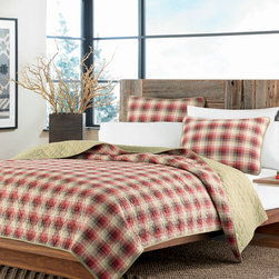 Eddie Bauer - Red Ravenna Quilt Set - Featuring an elegant yet homey design and comfy cotton construction, this bright quilt set complements preexisting d̩cor while providing a welcoming place for cozy cuddlers. �� Includes quilt and two shams (twin sizes include one sham) Cotton Machine wash Imported