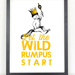 Where the Wild Things Are - Let the WIld Rumpus Start- - Kids Room Decor - 11x17 Print