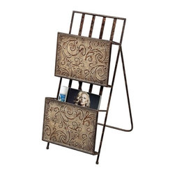 Sterling Embossed Metal Magazine Rack Brown - This #HomeDecor by #Sterling features a Brown finish, that will accentuate each aspect of your home.