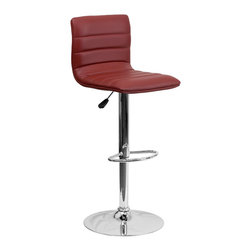 Flash Furniture - Flash Furniture Barstools Residential Barstools X-GG-GRUB-1-32029-HC - This modern bar stool is upholstered in a durable vinyl upholstery and adjusts from counter to bar height. This armless design is gracefully contoured for your comfort. The height adjustable swivel seat adjusts from counter to bar height with the handle located below the seat. The chrome footrest supports your feet while also providing a contemporary chic design. [CH-92023-1-BURG-GG]