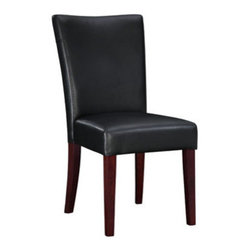 "PWL273-833 - Black Bonded Leather Parsons Chair, 20-1/2"" Seat Height - Black Bonded leather Parsons Chair, 20-1/2"" Seat Height.  The black leather Parsons Chair has a straight back with exposed ""Light Merlot"" finished tapered, square legs. Seat and back are upholstered in black bonded leather.  Chair measures:  19 x 24-3/4 x 38"" tall, Seat Height: 20-1/2"".  Some assembly required.  Material Content: solid wood frame, rubberwood legs, bonded leather, polyurethane foam pad."