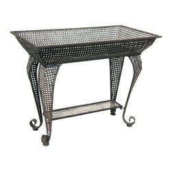 Oriental Furniture - Wrought Iron Sundry Stand Table - Add a striking accent to your home or garden with this iron display table. Featuring a deep, wide display shelf on top, this table is perfect for creating a seasonal display or simply adding extra storage space to a room or hallway. The iron construction is suitable for both indoor and outdoor use, and the eclectic painted finish adds a stylish accent in both home and garden.