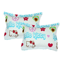 Store51 LLC - Hello Kitty Pillow Shams Set Peace Sign Bedding Accessories - FEATURES: