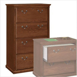 Kathy Ireland Home by Martin Furniture - Huntington Club Four-Drawer Lateral Fil - Distressed Cherry finish