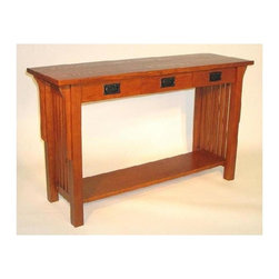 Wayborn - Mission Brown Console Table w Drawers - Made from Birchwood. Smooth finish. 50 in. W x 16 in. D x 30 in. H (66 lbs.)