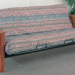 Coaster - 82 in. Casual Futon Frame - Mattress not included. Mission slat side detail. Wide wooden arms. Smooth frame. Simple square legs. Metal deck and hinges add extra support. Made from wood. Medium solid oak finish. 82 in. L x 54 in. W x 32 in. H. WarrantyThis lovely futon frame will give your spare bedroom or den a stylish look. Easily convert from a couch for lounging, to a comfortable bed at night, ideal for overnight guests. Make the most of your space with this stylish futon.