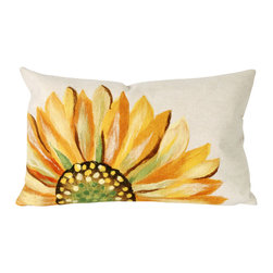 """Trans-Ocean - Sunflower Yellow Pillow - 12""""X20"""" - The highly detailed painterly effect is achieved by Liora Mannes patented Lamontage process which combines hand crafted art with cutting edge technology.These pillows are made with 100% polyester microfiber for an extra soft hand, and a 100% Polyester Insert.Liora Manne's pillows are suitable for Indoors or Outdoors, are antimicrobial, have a removable cover with a zipper closure for easy-care, and are handwashable."""