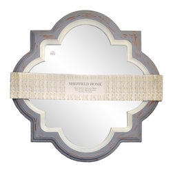 "Enchante Accessories Inc - Framed Wall Mirror 31.7"" Diameter (Blue/Ivory) - Framed Wall Mirror  Decorative design with a weathered finish for a vintage look Perfect Foyer Mirror Versatile design that can be hung in any hallway, living room, bedroom, or entryway Measures 31.7 in. Diameter Measures: L:3 in. x W:31.7 in. x H:31.7 in. Mirrors not only reflect your image, but they reflect your style.  The types of mirrors you choose to hang in your home not only provide function, but act as a great accent piece that shows your sense of style apart and reflects your taste.  Made from durable wood and accented with distressed finishes, beveled edges, and weathered details that give them a rustic, vintage look, these mirrors add beauty to any wall in any room of the house.  Perfect for use in an entry way, a hallway, a dining room, a living room, or a bedroom, these rustic mirrors have that vintage inspired French country look that adds instant charm and casual comfort to any home. For a unique look and an interesting display, hang mirrors of different sizes, shapes, and colors on the same wall.  Mirrors help to add texture and dimension and create the illusion of a larger space.  By hanging multiple mirrors in a small space, you can create interest and increase the perceived size and feel of the space around you.  Available in both rectangular shapes and rectangular shaped frames with oval mirrors in the center, these rustic wood mirrors come in a variety of color finishes that have a neutral appeal and can be easily coordinated with any type of rustic furniture or shabby chic room decor. With the look and feel of a treasured family heirloom, these mirrors are aged and weathered to give them a vintage look and evoke a sense of old fashioned spirit.  Reminiscent of something you may have once seen in a charming country cottage, these wooden mirrors let you check out your own reflection as well as reflect the beautiful room around you.  The antique look makes them the perfect addition to any casual space while the clean mirrored glass provides the function that aged and worn mirrors often cannot."