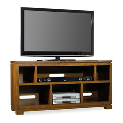 "Hooker Furniture - Viewpoint 60"" Entertainment Console - White glove, in-home delivery included!  A young, hip transitional design that is scaled to fit smaller homes and condos, Viewpoint is crafted in highly figured walnut veneers with rubberwood solids in a clear medium brown finish.  Hardware is in a brushed bronze finish.  Five open storage areas, one three plug outlet in bottom center section.  Media opening: 36"" w x 19 3/4"" d x 9 1/2"" h"