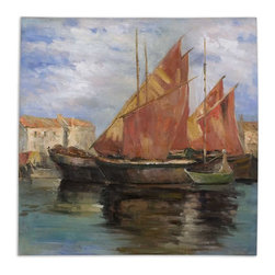 Uttermost - Bright Sailing Hand Painted Art - This Hand Painted Oil On Canvas Is Stretched And Attached To Wood Stretching Bars. Due To The Handcrafted Nature Of This Artwork, Each Piece May Have Subtle Differences.