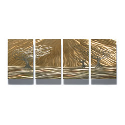 Miles Shay - Metal Wall Art Decor Abstract Contemporary Modern Sculpture- 3 Trees 4 panel - This Abstract Metal Wall Art & Sculpture captures the interplay of the highlights and shadows and creates a new three dimensional sense of movement as your view it from different angles.