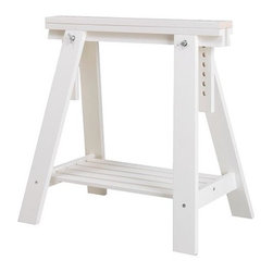 "VIKA ARTUR Trestle with shelf - dimensions: 18 1/8"" W x 27 1/2"" D x 28""-36 5/8"" H. max. load: 110 lb. max load/shelf: 55 lb. available in white or birch. made of wood. assembly required."