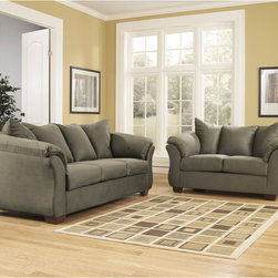 Signature by Ashley - Darcy Living Room Set in Sage Fabric - Sofa and Loveseat Set. Contemporary Design. Plush Upholstered Arms. Sage Fabric Upholstery. Pillow Back Cushions. Fixed Back. Loose Seat Cushions. CA117 Fire Retardant Foam. Black Bottom Dust Cover. Plastic Triblock Feet. Durable Frame Construction. Seat and Back Spring Rails cut from .875 in.  Thick Hardwood. Corners are Glued, Blocked and Stapled. Upholstery pre-approved for wearability and durability against AHFA Standards. Cushion core constructed of low melt fiber wrapped over high quality foam. 100% Polyester. Spot clean with water based cleaner. Loveseat: 67 in. W x 39 in. D x 40 in. H. Sofa: 90 in. W x 39 in. D x 40 in. H.