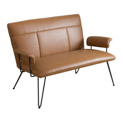 Great Deal Furniture - Charlotte Modern Design Loveseat, Tan - Accentuate your living room with this modern loveseat. The Charlotte loveseat is a sleek addition to any interior space with its clean angles and lines.