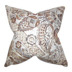 "The Pillow Collection - Heidrun Floral Pillow Brown 20"" x 20"" - Make your garden inside your home with this romantic accent pillow. This throw pillow features a floral pattern in shades of brown and white. This pretty statement piece is great for indoor use. Place this 20"" pillow to your sofa, bed or seat together with other pillows from our collection. Made of 55% linen and 45% rayon material."
