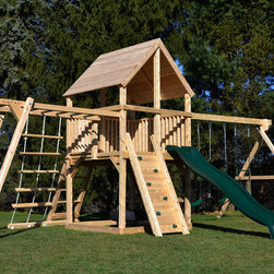 Bailey Climber with Options - White cedar swing set with monkey bars, rock wall and rope ladder.