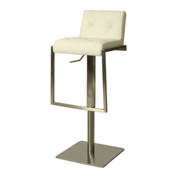 Pastel Furniture - Adijon Swivel Barstool In Pu Gray - The contemporary Adijon Swivel Barstool has a simple yet elegant design that is perfect for any decor. An ideal way to add a touch of modern flair to any dining or entertaining area in your home. This barstool features a quality metal frame with sturdy le