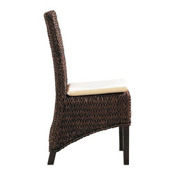 WickerParadise - Seagrass Dining Chairs | Barbados Set of 2 - This set of seagrass chairs is just the thing to complete your tropical dining room escape. With a woven back and seat that ends in a diagonal along the wooden frame, it's unique and classic all at once. The reddish-brown tint brings sophistication to the table.