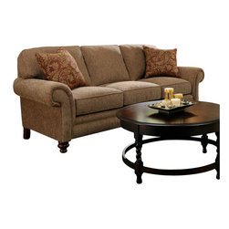 Broyhill - Broyhill Larissa Brown Three Seat Sofa with Cherry Wood Finish - Broyhill - Sofas - 61123Q1 - About This Product: