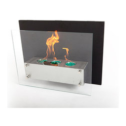 """EcoPyro AF-904-B Hoodoo Wall Hanging Ethanol Fireplace 27 5/8"""", Stainless Steel/ - Hoodoo features a Matte Black back panel that attaches directly to the wall. The fireplace body itself holds 3 evenly spaced round burners which create a trifecta appearance when lit. The fire body is a stainless steel rectangle that meets solidly to the black rear panel with a panel of tempered glass floating off its face. A spectacularly well designed fireplace in a relatively compact package. Hangs in a similar method to a piece of art, directly on the wall, no cutting or inserting modifications of the wall are required. Compact and modern in design, Hoodoo confidently updates the tradition of fire."""