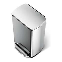 simplehuman - 46 Litre Wide-Step Rectangular Recycler - This space-efficient can features two interior bins, so you can keep trash and recyclables separate without the need for an extra container. Space-saving and stylish? That's a can worth keeping.
