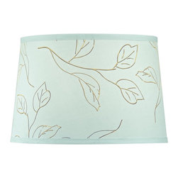 Dolan Designs - Petite Mint Green with Brown Leaf Pattern - This petite lamp shade, part of the Mix and Match Collection by Dolan Designs, comes with a mint green shade decorated with brown leaf patterns.