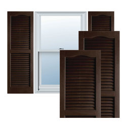 "Alpha Systems LLC - 14"" x 55"" Builders Choice Vinyl Open Louver Shutters,w/Screws, Brown - Our Builders Choice Vinyl Shutters are the perfect choice for inexpensively updating your home. With a solid wood look, wide color selection, and incomparable performance, exterior vinyl shutters are an ideal way to add beauty and charm to any home exterior. Everything is included with your vinyl shutter shipment. Color matching shutter screws and a beautiful new set of vinyl shutters."