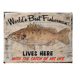 Home Decorators Collection - Worlds Best Fisherman Wooden Sign - Expertly crafted from planks of high-quality wood, the Worlds Best Fisherman Wooden Sign will add a charming vibe to your home with just the right touch of antique, rustic texture. Place one in your kitchen or living room for a light-hearted touch, or try it by your front door to greet guests in personal style. Don't let this be the one that got away; Order yours today! Includes hardware for easy hanging in any room. Crafted from solid wood for years of lasting beauty. Indoor use only.
