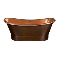 """myCustomMade - Free Standing Copper Tub, Antique, 80"""" Size, No Drain-Back - This free standing copper tub is a good idea for upgrading a bathroom. The tub is hand made of sixteen gauge copper in all standard sizes. The width of all models is 33 and the maximum height 32 inches. A copper tub can be further customized with patina of choice. Applicable finishing includs uniform honey, rustic natural, old looking antique and dark coffee. A built-in drain-back system is available as an option. It is made of copper tubing preventing water overflowing and flooding the bathroom. Copper tub #1141000023 image may not show accurate proportions nor the patina color."""