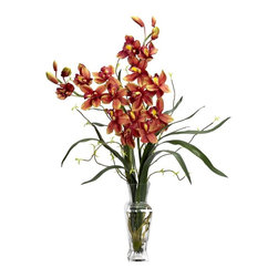 Cymbidium Silk Flower Arrangement - The perfect gift for any occasion, this Cymbidium provides a lovely display that any flower lover could appreciate. These colorful orchids are rich in color, and reach skyward, showing more 'green leaf' than most standard orchids. These desirable flowers would look perfect in any type of environment, and are complimented by a simple, but practical vase and 'liquid illusion' water. A guaranteed favorite that is easy to manage. Height= 30 in x Width= 23 in x Depth= 14 in