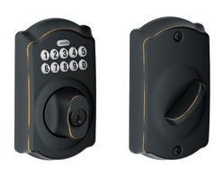 SCHLAGE LOCK - Electronic Deadbolt Aged Bronze - Turn-Lock feature allows the user to lock and leave without a key. Ideal for front, back and side entry doors where deadbolts are required. Grade 2 ANSI/BHMA certified. Commercial grade clutching motor drive. Vandal resistant free-spinning deadbolt turn. Code control; 6-digit programming code required to add and delete user codes. Warning sounds after four incorrect codes entered; keypad disabled for 30 seconds. Mechanical key override. Pre-set with random 6-digit programming code and two random 4-digit user codes. 19 user code capacity; 10,000 user code combinations. Blue LEDs illuminate the keypad on demand. Locks can be re-keyed to match existing locks. 9-volt alkaline battery included. Fits most standard door preps. Just a screwdriver needed for installation on pre-prepped doors.