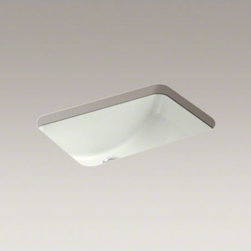 "KOHLER - KOHLER Ladena(R) 20-7/8"" X 14-3/8"" X 8-1/8"" under-mount bathroom sink with glaze - Ladena's upswept curves offer generous basin space and a striking contemporary look, particularly when paired with a countertop that exposes the basin's glazed underside."