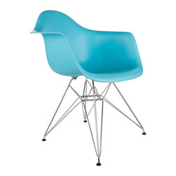 """Eiffel Arm Chair in Aqua - Some designs were ahead of their time. Considered the chair of tomorrow for both its design and its innovative single-mold manufacturing process, one of the most iconic mid-century furniture designs inspired the Eiffel Arm Chair. Created in the spirit of economy and affordability, its unique shape spreads the sitter's weight and pressure evenly. The deep seat and waterfall edge provide additional comfort as the design shapes itself around the body's curves, while the chrome eiffel-style base adds visual interest and stability. If you've done away with formality in your home, the Eiffel Arm Chair is that one piece of furniture that exemplifies the """"less is more"""" ethos. It's the ultimate seat that goes well in a variety of different settings: as a home office chair, an entryway slipper seat, or that one statement piece in the living room."""